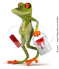 Royalty Free Rf Clipart Illustration Of A D Springer Frog Walking And Carrying A Paint Bucket And Roller Image