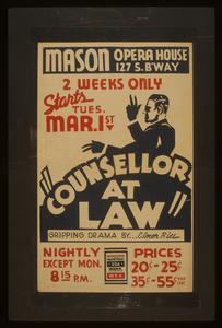Counsellor At Law  Gripping Drama By...elmer Rice. Image