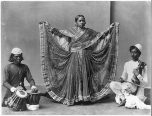 Nautch Girl Dancing With Musicians Accomp. Calcutta, India Ca. 1900. Image