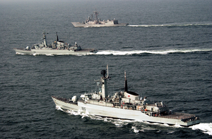 Uss Rueben James Along With Pakistan Navy Ship (pns) Shahjahan And Pns Tippi Sultan Are Currently Participating In Exercise Inspired Siren 2002. Image