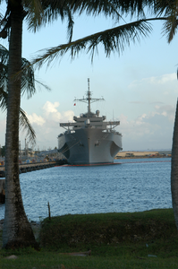 The 7th Fleet Amphibious Command And Control Ship Uss Blue Ridge (lcc 19) Rests At Victor Six Pier In Guam During A Recent Port Call. Image