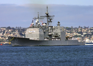 The Guided Missile Cruiser Uss Mobile Bay (cg 53) Makes Her Way Down San Diego Bay To Naval Station San Diego Image