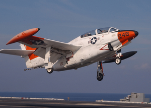 A T-2c Buckeye Assigned To Fixed Wing Training Squadron Nine (vt-9) Performs A Touch And Go On The Flight Deck Of Uss Harry S. Truman (cvn 75). Image