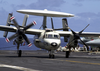 An E-2c Hawkeye Assigned To The  Sunkings  Of Carrier Airborne Early Warning Squadron One One Six (vaw-116) Successfully Lands Aboard The Aircraft Carrier Uss Constellation (cv 64) With One Engine After Having An In-flight Emergency. Image