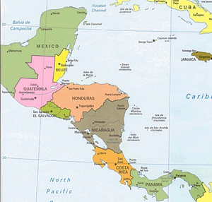 Central America And The Caribbean Political Map Image