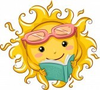 Illustration Of A Relaxed Sun Reading A Book Image
