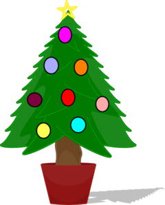 Christmas Tree With Rainbow Color Ornaments Clip Art