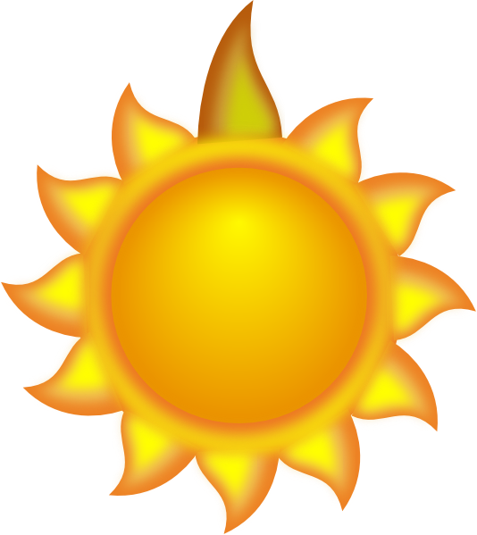 Sun Cartoon With A Long Ray Red Clip Art at Clker.com - vector clip ...