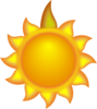 A Sun Cartoon With A Long Ray Red Clip Art