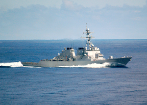 Uss Mahan (ddg 72) Steams Alongside George Washington While At Sea During A Regularly Scheduled Six-month Deployment Image