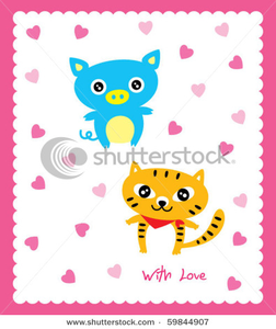 Stock Vector Love Pig With Cat Image