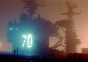 Early Morning Fog Sets Across The Flight Deck Of The Aircraft Carrier Uss Carl Vinson Image