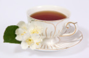 Cups Tea Whitw With Flowers Image