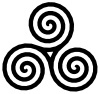Triple Spiral Symbol Filled Clip Art