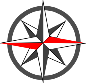 Red Grey Compass Bold Clip Art