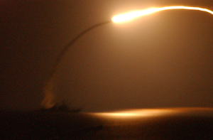 The Guided Missile Destroyer Uss Winston S. Churchill (ddg 81) Launches A Tomahawk Land Attack Missile (tlam) Toward Iraq Image