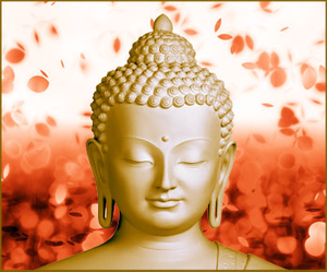 Buddha Statue With Rose Petals In Background Image