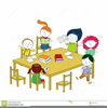 Children Sitting At Table Clipart Image