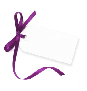 Stock Photo Blank Gift Tag Tied With A Bow Of Purple Satin Ribbon Isolated On White With Soft Shadow Image