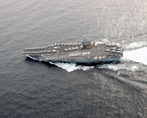 Uss Abraham Lincoln (cvn 72) Spells Out  Ready Now  On The Ship Image