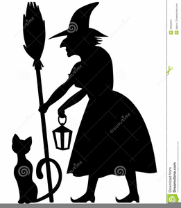 Black And White Witch Clipart Image