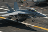 An F/a-18f Super Hornet Makes An Arrested Landing Aboard The Flight Deck Of Uss Kitty Hawk (cv 63). Image