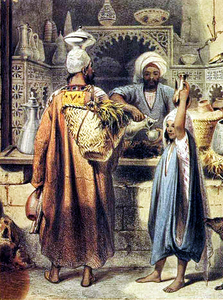 An Olive Oil Merchant And His Customers In The Cairo Bazaar Image
