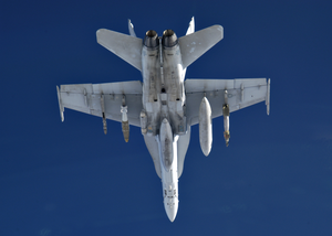 An F/a-18 Hornet Assigned To The Marauders Of Strike Fighter Squadron Eight Two (vfa-82) On Patrol Image