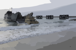 A High Mobility Multi-purpose Wheeled Vehicle (hmmwv) Roles Off Of A Landing Craft Utility (lcu) From The Uss Tarawa (lha 1) Amphibious Ready Group (arg) Clip Art