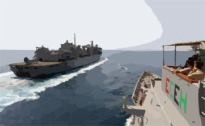 The Guided Missile Cruiser Uss Chosin (cg 65) Prepares To Come Alongside The Fast Combat Support Ship Uss Bridge (aoe 10) In Preparation Of An Underway Replenishment Clip Art