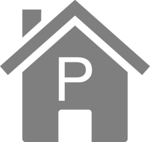 Simple Grey P House Clip Art