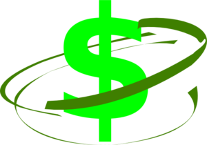 Green Swirl Around Money Sign Clip Art