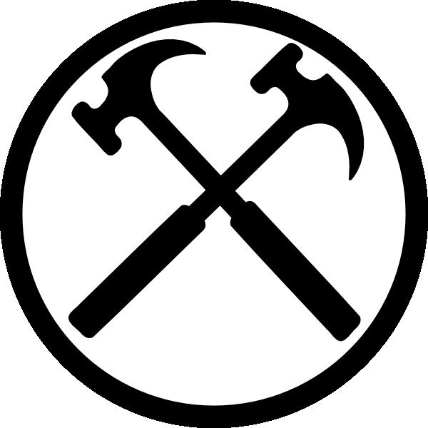 Crossed Hammers Bw 100x100 Clip Art at Clker.com - vector clip art ...