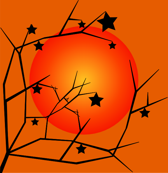 clipart sunset. Fall Tree Sunset