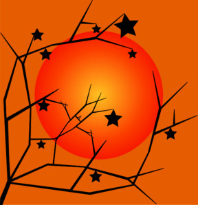 Fall Tree Sunset Clip Art
