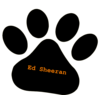 Black Pet Paw / Ed Sheeran Orange Text Clip Art