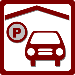 Hotel Icon Indoor Parking - Red  Clip Art