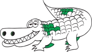 White Alligator Outline Clip Art
