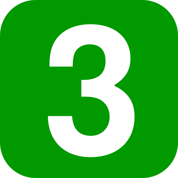 Number Three Green Square Rounded Edge Clip Art at Clker ...