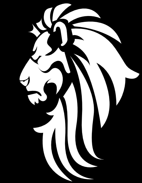 Black & White Lion Head Clip Art at Clker.com - vector ...