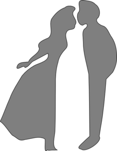 Shadow Kissing Couple Clip Art