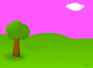 Pink Background Landscape - No Shadow Clip Art