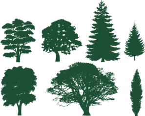 Green Tree Silhouettes Clip Art