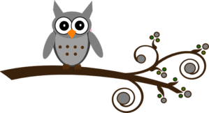 Grey Owl On Branch Clip Art