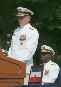 Rear Adm. Barry C. Black, Chief Of Navy Chaplains Listens To Adm. Vern Clark, Chief Of Naval Operations (cno) Make Remarks At His Change Of Office And Retirement Ceremony Held At The Washington Navy Yard. Clip Art