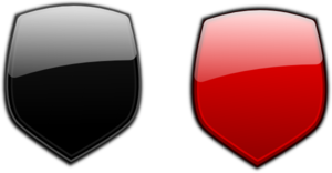Black Red Glossy Shields Clip Art