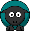 Sheep Looking Straight Dark Teal Clip Art