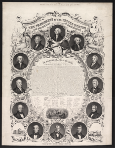 The Presidents Of The United States And Declaration Of Independence  / On Stone By J. Britton ; Lith. Of Wm. Endicott & Co., 59 Beckman St., N. York. Image