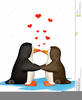 Penguins In Love Clipart Image