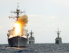 U.s. Navy Destroyer Launches An Sm-2 Missile. Image